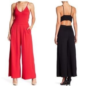 Red Open Back Wide Leg Jumpsuit NWT